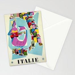 Retro naive cubist Italian beaches, mermaid travel ad Stationery Cards