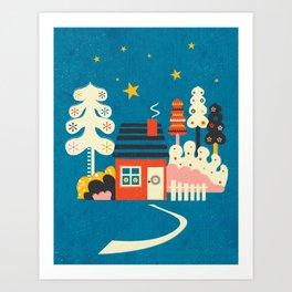 Festive Winter Hut Art Print