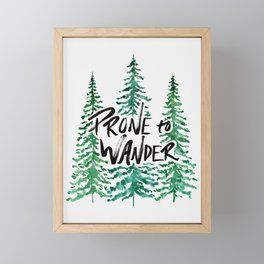 Prone to Wander - Green Framed Mini Art Print