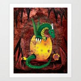Dragon Cavern Hatchling - Digital Painting Art Print