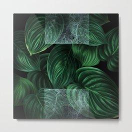 tropical green pattern on black Metal Print