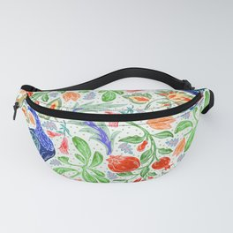Asian Floral Pattern With Elegant, Lucky Peacocks Fanny Pack