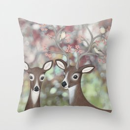 white tailed deer, warbling vireos, & cherry blossoms Throw Pillow