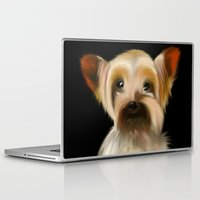 yorkie Laptop & iPad Skins featuring Yorkie on Black by barefoot art online