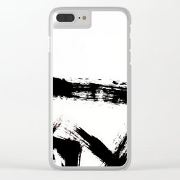 Brushstroke [8] - a simple, abstract, black and white india ink piece Clear iPhone Case
