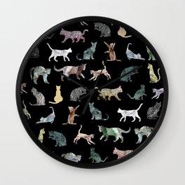 Cats shaped Marble - Black Wall Clock