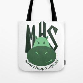 Minty Hippo Squad Tote Bag