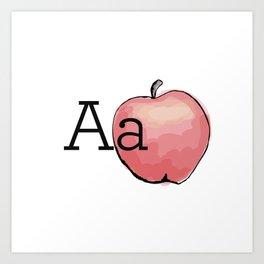 Fruit + Veggie Alphabet: Apple Art Print
