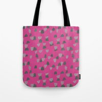 gray pattern Tote Bags featuring Pink & Gray pattern by Georgiana Paraschiv