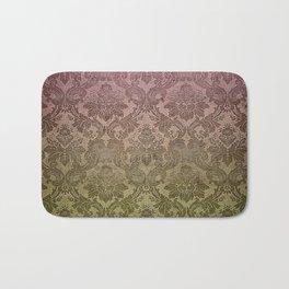 Vintage Pastel Pink and Green Damask Pattern Bath Mat