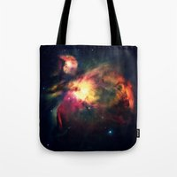 nebula Tote Bags featuring Orion NEbula Dark & Colorful by 2sweet4words Designs