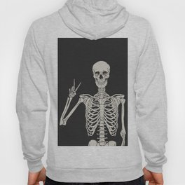 1 Mystic of 94 Magical Mystical Gothic Human Skeleton Giving The Peace Sign Bones Black & White Hoody