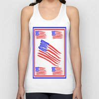 american flag Tank Tops featuring American Flag by Art by Samantha Perez