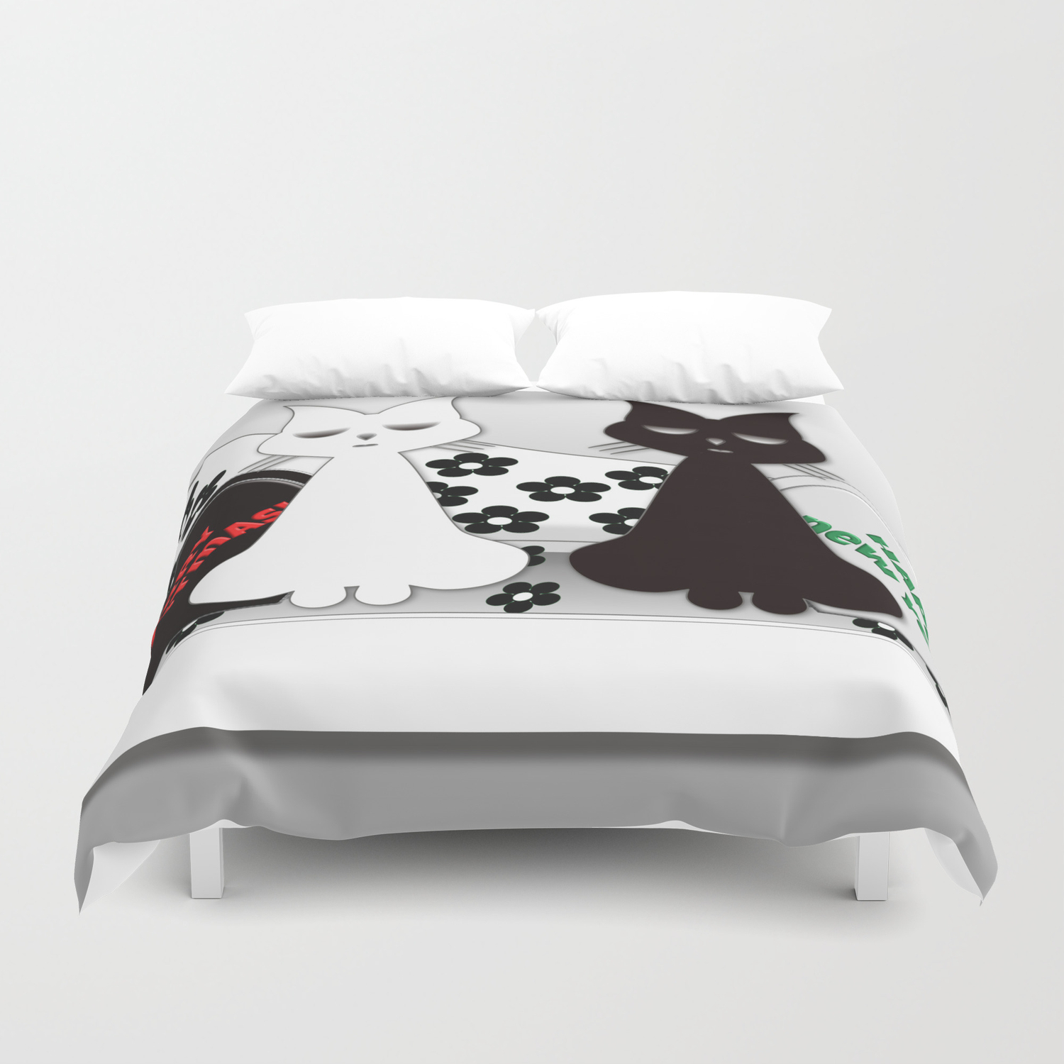 Black And White Cats On Sofa Christmas Duvet Cover