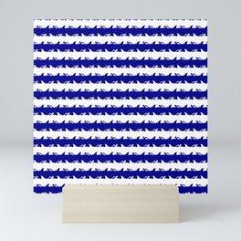 Bondi Beach Blue and White Shark Attack Beach Stripe Mini Art Print