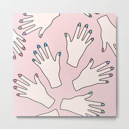 Pastel Manicured Hands Pattern Metal Print