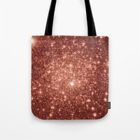 rose gold Tote Bags featuring rose gold stars by Space & Galaxy Dreams