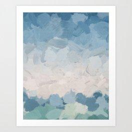 Mint Blue Aqua Sky Ocean Abstract Art Painting Clouds Water Waves Art Print