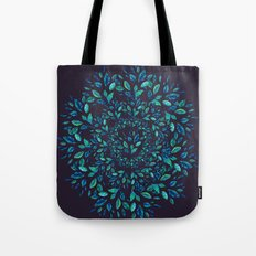 Blue Leaves Mandala Tote Bag