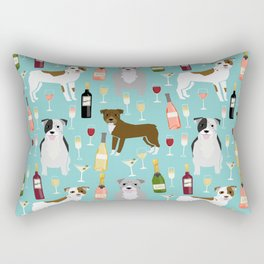 Pitbull wine champagne dog breed pet portrait pet friendly gifts for dog lovers Rectangular Pillow