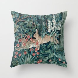 William Morris Forest Rabbits and Foxglove Throw Pillow