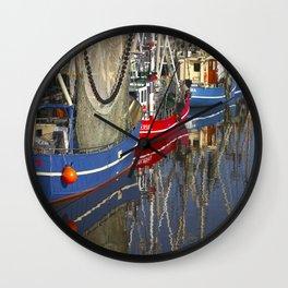 Vintage ships in Northsea harbour Wall Clock