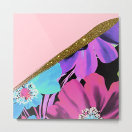 Pretty Girly Pink Gold Glitter and Purple Flowers Metal Print
