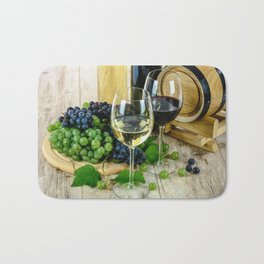 Glasses of Wine plus Grapes and Barrel Bath Mat