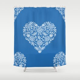 Azure Strong Blue Heart Lace Flowers Shower Curtain