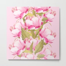 Pink Peonies on a pink background - #Sociey6 #buyart Metal Print