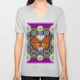 Purple Monarch Butterfly Shasta Daises Decor Art Unisex V-Neck