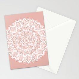 Boho White Mandala on Rose Gold Stationery Cards