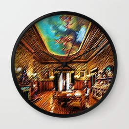 Chateau sur Mer Dining Room Watercolor - Newport Mansion Series - Jéanpaul Ferro Wall Clock