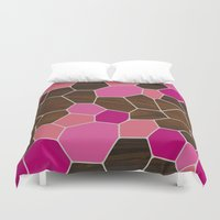 geode Duvet Covers featuring Geode in Pink by jefdesigns