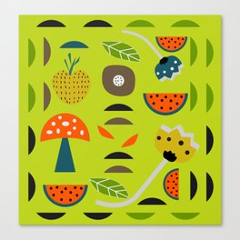 Modern decor with fruits and flowers Canvas Print