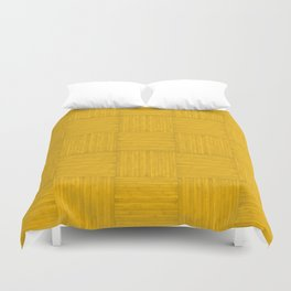 Amber Yellow Faux Bois Wood Pattern Duvet Cover