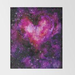 Valentine Galaxy Heart 01 Throw Blanket