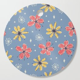 yellow and red flowers on blue Cutting Board