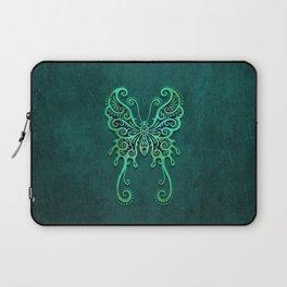 Intricate Teal Blue Vintage Tribal Butterfly Laptop Sleeve