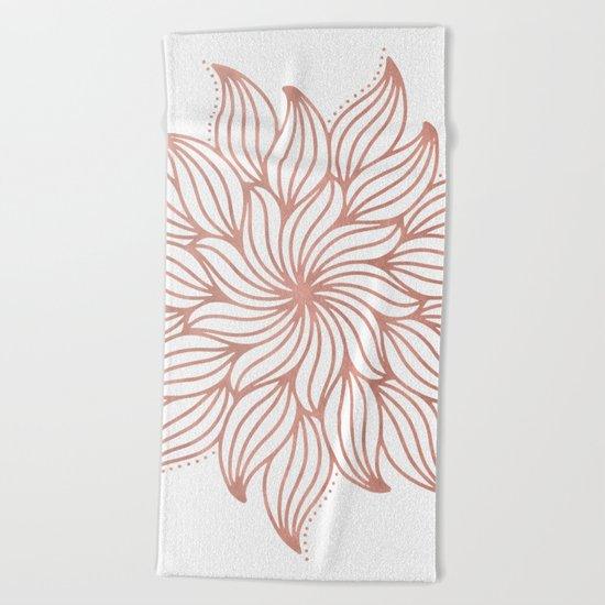 Mandala Floral Rose Gold on White Beach Towel