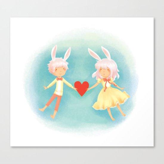 Bunny Hearts Canvas Print