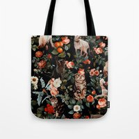 Tote Bags featuring Cat and Floral Pattern II by Burcu Korkmazyurek