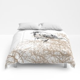 Bird black and white sketch Comforters