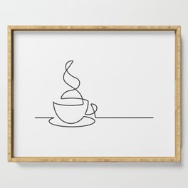Single Line Coffee Cup Illustration Serving Tray
