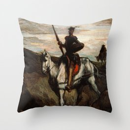 Don Quixote In The Mountains by Honore Daumier Throw Pillow