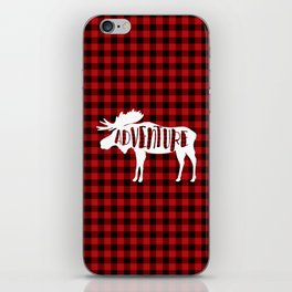 Red Buffalo Plaid Moose ADVENTURE typography iPhone Skin