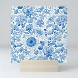 Denim Blue Monochrome Retro Floral Mini Art Print