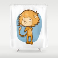 leo Shower Curtains featuring Leo by Chiara Zava