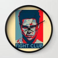 tyler durden Wall Clocks featuring Tyler Durden by Jason Vaughan