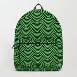 Japanese Waves (Black & Green Pattern) Backpack